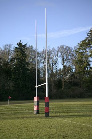 Rugby posts with protective wrapping at a local ground