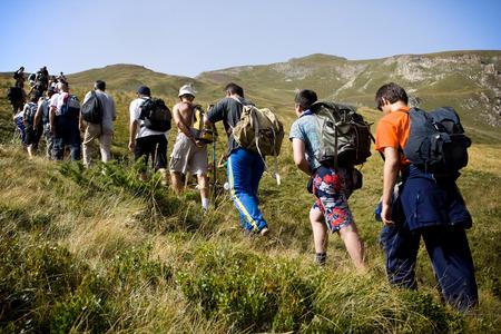 team journey: Mountain expedition going to peak Korab