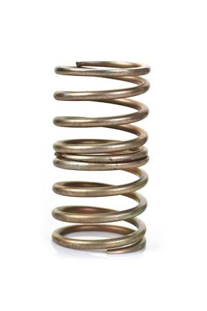 spirale: Goldene Feder auf weißem Hintergrund Lizenzfreie Bilder