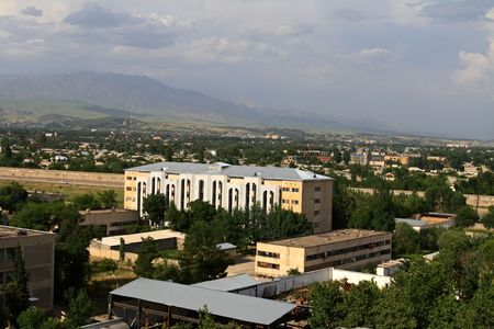View on Dushanbe with top in the summer Stock Photo
