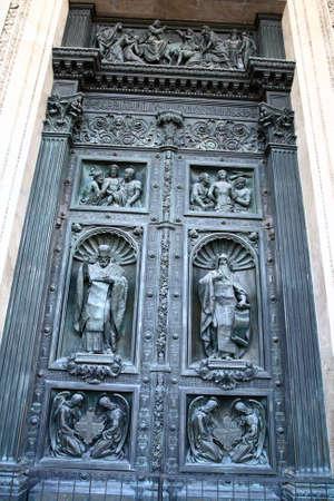 sobor: Door of cathedral of Saint Isaac (Isaakievsky sobor), Saint-Petersburg, Russia Stock Photo