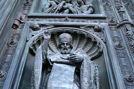 Fragment of door cathedral of Saint Isaac (Isaakievsky sobor), Saint-Petersburg, Russia Stock Photo - 1296384