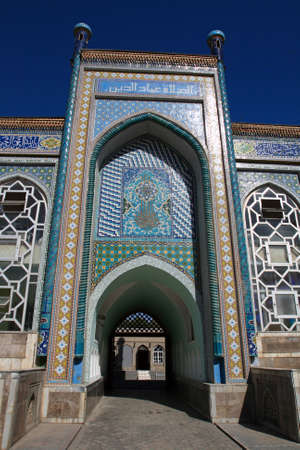 The entrance in mosque at summer, Tajikistan photo