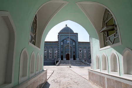 The mosque behind archway at summer,  Tajikistan