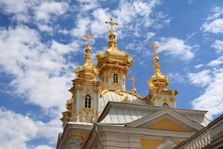 admire: The golden orthodox church against the sky background