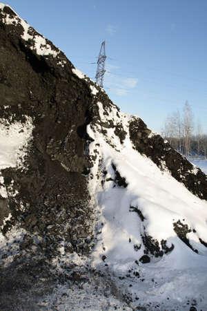 heap snow: The heap of bituminous coal in winter