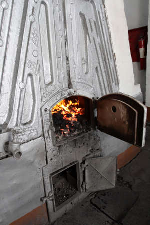 broiling: The fire box in the boiler room
