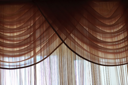 Details of brown curtains in the morning photo