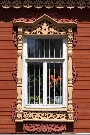 Tipical window of russian wooden house, Kolomna Kremlin, Russia Stock Photo - 21489878