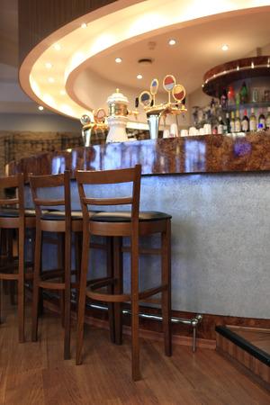 bar stool: Details of modern bar in a hotel