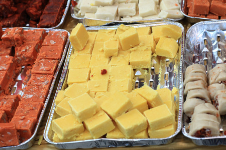 sweetest: The indian sweets for sale at a market