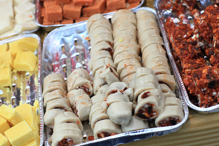 gulab: The various indian sweets at a market