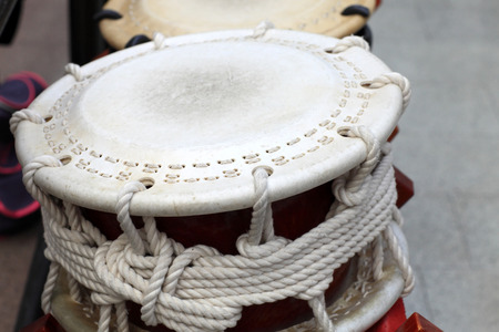 jazz time: The white leather drum on a concert Stock Photo