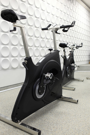 The exercise bicycle in the sport club photo