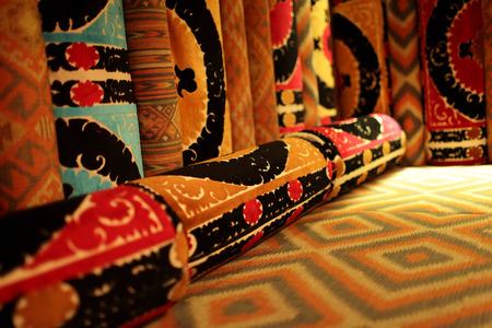 uzbek: The ornate sofa in an uzbek restaurant Stock Photo