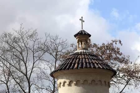 castle district: Top of turret of Vysehrad cemetery in spring, Prague