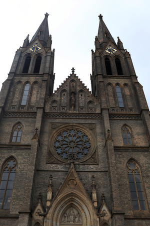 Front of cathedral of St  Ludmila in Prague photo