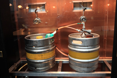 Two kegs with beer at an old brewery photo