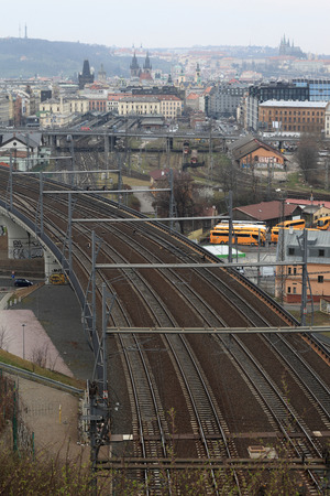 View of railroad wrom Vitkov hill in Prague photo