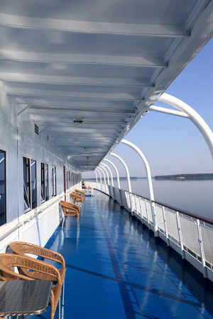 superstructure: Cabins of a retro cruise ship on Volga river