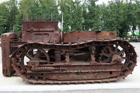 View of the old rusty antique crawler photo