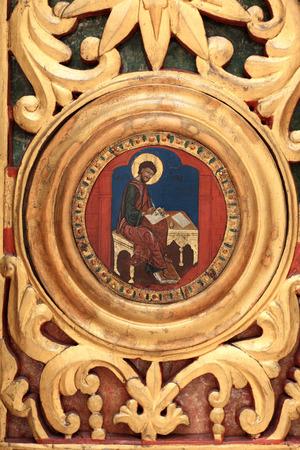 ルーク: Icon of saint Luke on a portal of candlemas church in Arkhangelsk province, Russia