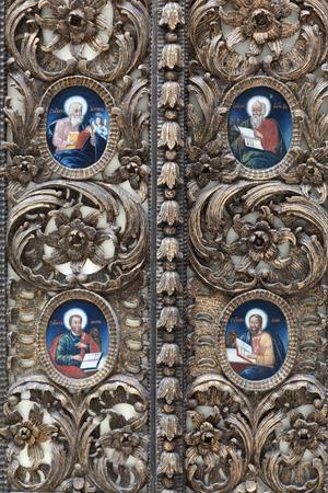 ortodox: Fragment of the wooden ortodox church door Stock Photo