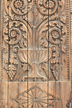 architectural feature: Fragment of an old cracked wooden door