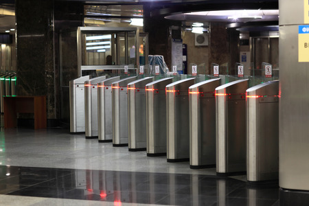 turnstile: The turnstile of a subway station in Moscow Stock Photo