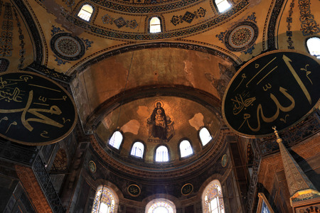 Interior view of Hagia Sophia museum. It is a Greek Orthodox church, later an imperial mosque, and now a museum in Istanbul, Turkey