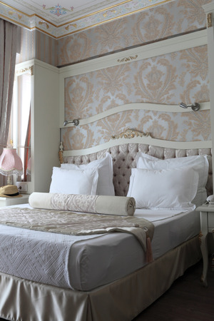 View interior of a beige bedroom in the hotel
