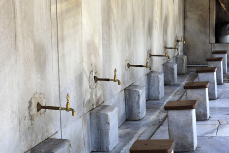 Washbasins for prayer at the Blue Mosque in Istanbul, Turkey Editorial