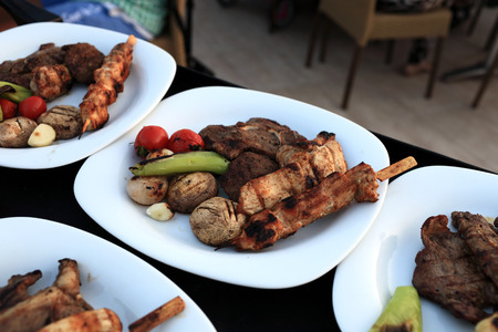 Assorted grilled meat with vegetables on the white plates photo