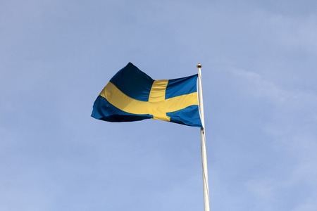 Flag of Sweden on the sky background photo