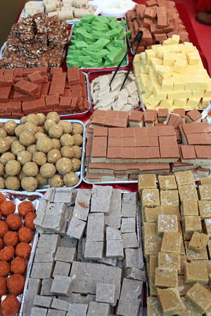 gulab: View of indian sweets at a market