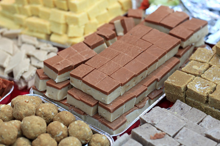 gulab: Various indian sweets on the counter an market