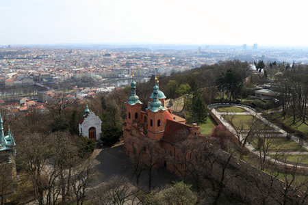 lawrence: Landscape of cathedral of St. Lawrence on Petrin hill, Prague