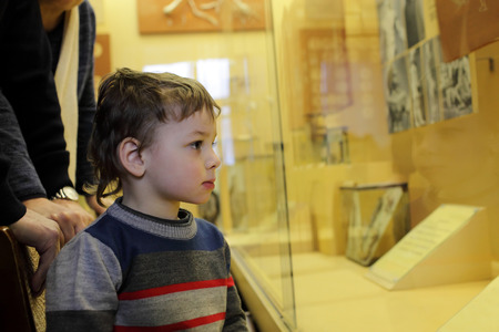 Child looking at exhibit in the museum