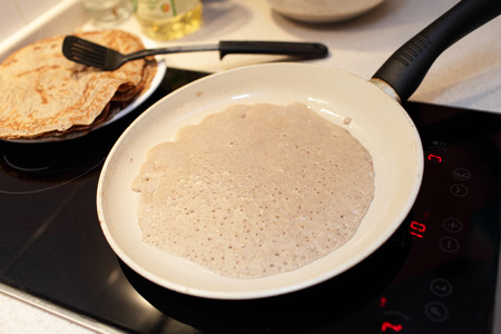 gold flax: Cooking of flaxseed meal pancake at home