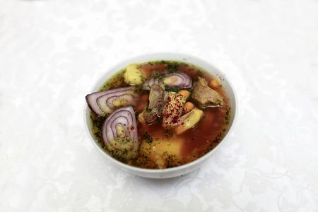 azerbaijani: Plate with piti soup in the Azerbaijani restaurant