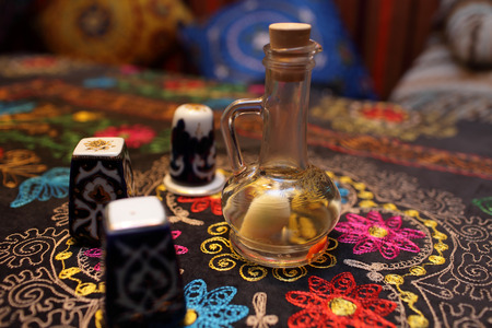 flavored: Flavored vinegar with salt and pepper shakers in the uzbek restaurant Stock Photo