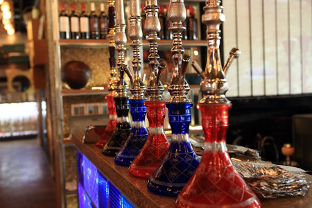 Details of shisha in the arabic cafe photo