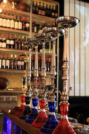 The shisha on a bar counter in the arabic cafe photo