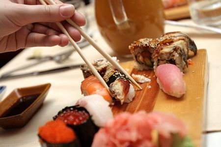 The sushi and chopsticks in japan restaurant Stock Photo