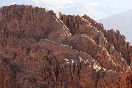 monte sinai: Monte Sina� (�rabe Jebel Musa) est� en el centro de la pen�nsula del Sina�, Egipto Foto de archivo