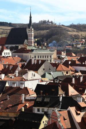 vitus: Landscape of St  Vitus Church in Cesky Krumlov, Czech republic Stock Photo