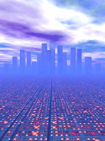 sunup: city of the future Stock Photo