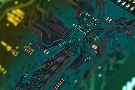 Electronic circuit board close up. photo