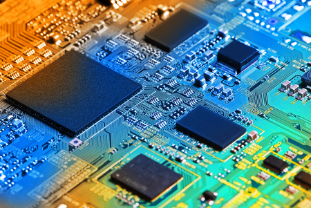 electronic elements: Electronic circuit board close up