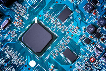 Electronic circuit board close up. Stock Photo
